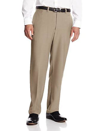Haggar Mens Big-Tall Expandable Waistband Repreve Stria Plain Front Dress Pant, Taupe,44x34