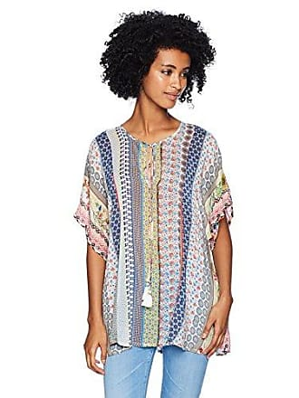 Johnny Was Womens Relaxed Short Sleeve Rayon Blouse with Tassel Tie, Multi, M