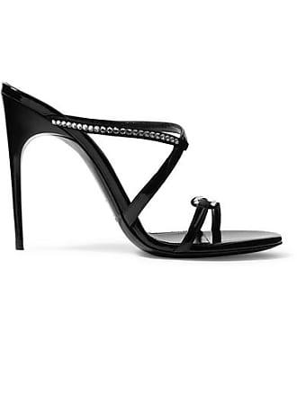 eaab3ece3a0 Saint Laurent Paris Minimalist Crystal-embellished Suede And Patent-leather  Mules - Black