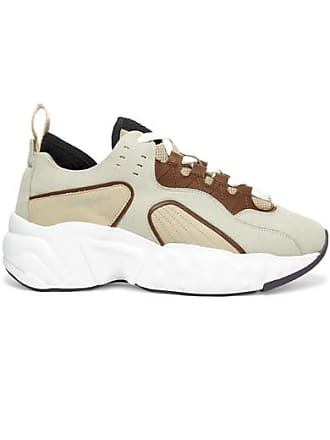 Acne Studios Manhattan Leather, Suede And Mesh Sneakers - Beige