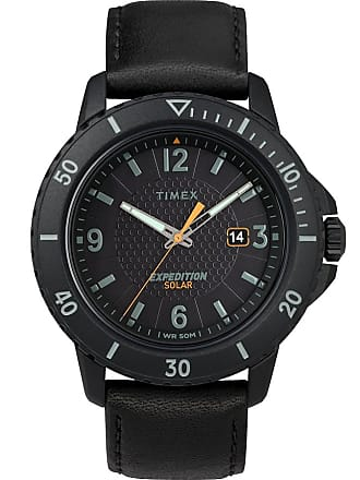 Timex Watch Mens Expedition Gallatin Solar 44MM Leather Strap Black Item Tw4B14700Za