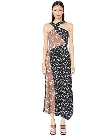 Yigal AzrouËl Haltered Neck Drape Front Printed Jersey Long Dress (Multi) Womens Dress