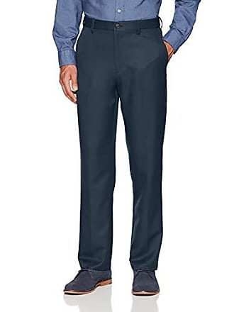 Amazon Essentials Mens Expandable Waist Classic-Fit Flat-Front Dress Pants, Navy, 35W x 32L