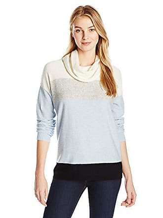 Joan Vass Womens Colorblock Turtleneck Sweater, Artic Blue, 0