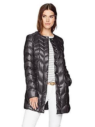 Via Spiga Womens Collarless Packable Down Jacket with Chevron Stitch Detail, Black, Small