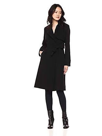 Theory Womens Belted OAKLANE Trench Coat, Black, L