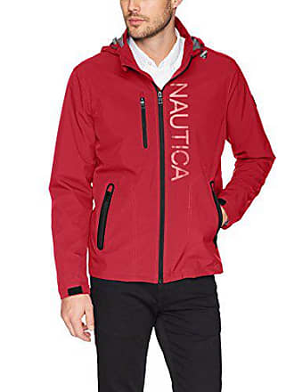 Nautica Mens Hooded Jacket with Logo, red, XL