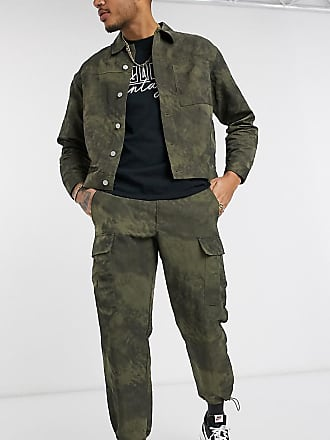 Reclaimed Vintage inspired cargo trousers in washed khaki with toggles-Green