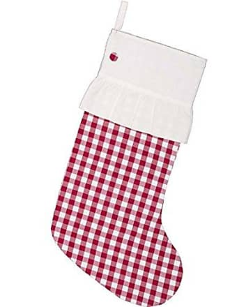 VHC Brands Holiday Decor - Emmie White Check Stocking, 20 x 12, Red