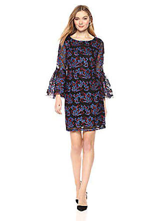 8e2bf73a22be8f Nicole Miller Womens Long Bell Sleeve Embroidered Tulle Sheath Cocktail  Dress, red/Royal/