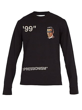 Off-white Off-white - Printed Long Sleeved Cotton T Shirt - Mens - Black