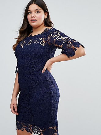 Paper Dolls Plus all over lace bardot dress in navy - Navy