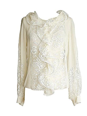 f718f5183b8d7 Oscar De La Renta Top Cream Silk Blouse Beautiful Lace Insets 8 Nwt