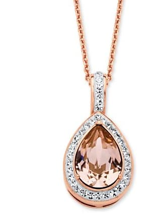 PalmBeach Jewelry Pear-Cut Rose Crystal Halo Necklace MADE WITH SWAROVSKI ELEMENTS in Rose Gold over Sterling Silver 18
