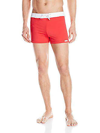 1f1f27f918 Sauvage Mens Retro Lycra Solid Swim Trunk, Red, Large