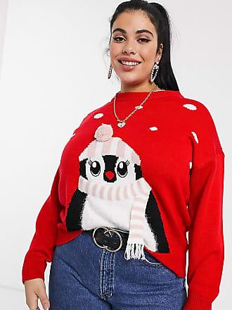 New Look Plus New Look Curve - Penguin - Kersttrui in rood-Zwart