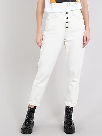 Sawary Calça Jeans Feminina Mom com Botões Off White