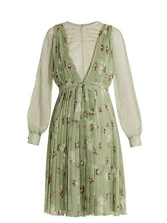 25d1973fbcd5 Valentino Floral Print Lace Trimmed Silk Chiffon Dress - Womens - Green  Print