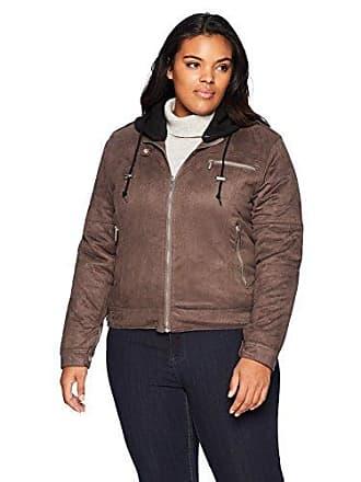 Yoki Womens Plus Size Suede Jacket with Fleece Hood, Charcoal, 2X