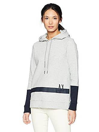 A|X Armani Exchange Womens Low Stripe Logo Hoodie, Black Heather Grey, S