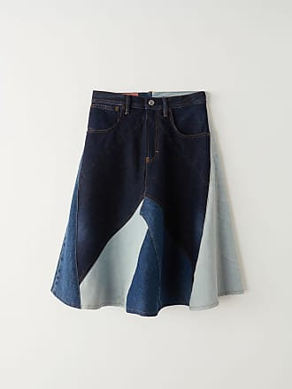 Acne Studios BK-WN-SKIR000020 Indigo blue Patchwork denim skirt
