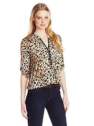 Calvin Klein Womens Modern Essential Zip Front Roll Sleeve Blouse, Blk/Neutral Exotica, Small