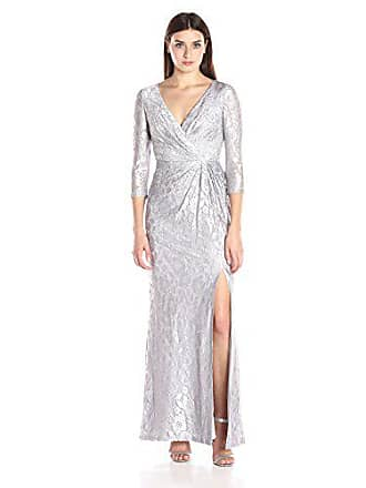 Adrianna Papell Womens Long Sleeve Wrap Lace Gown, Silver, 8