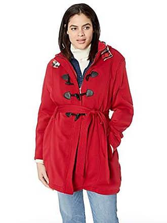 Yoki Womens Plus Size Sherpa Lined Toggle Fleece Jacket, RED, 2X