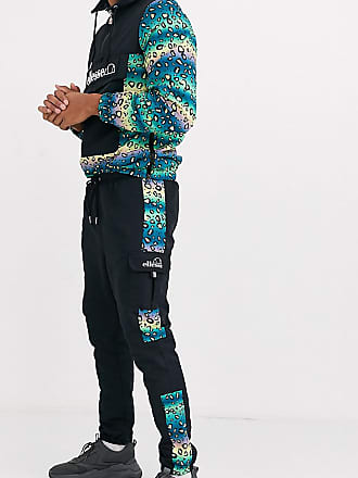 Ellesse Steven ripstop cargo pant with animal panels in black exclusive at ASOS