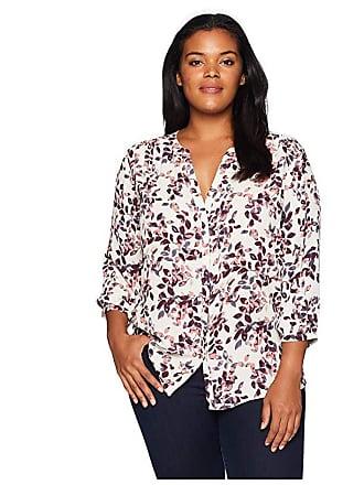 NYDJ Plus Size Plus Size Pintuck Blouse (Tumble Leaves) Womens Blouse