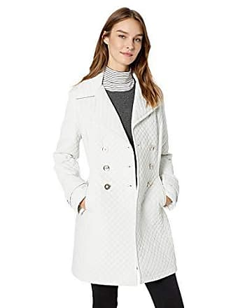 Ivanka Trump Womens Double Breasted Flared Sleeve Quilt Coat, Pearl, L