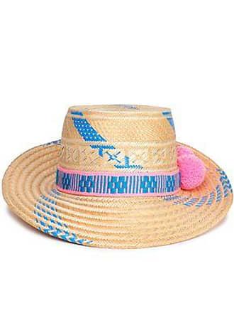 8bd85e91063733 Yosuzi Yosuzi Woman Pompom-embellished Woven Straw Sunhat Blue Size L