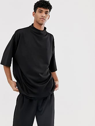 d1dd57f3f3809 Asos oversized t-shirt with grown on turtleneck in scuba - Black