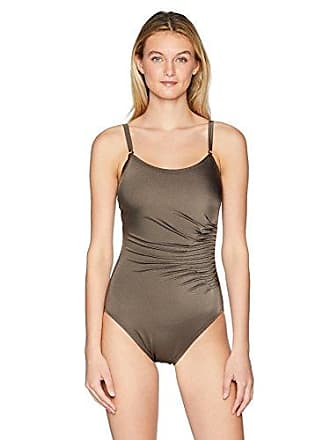 5394746789e Calvin Klein Womens Starburst Solid one Piece Swimsuit with Adjustable  Straps, Bronze Shimmer, 14
