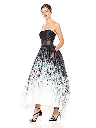 Betsy & Adam Womens Long Strapless Ball Gown Dress, Black/Multi, 14