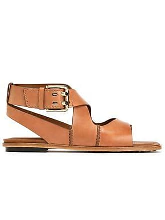 7d91aca27 Tod s Tods Woman Cutout Leather Sandals Light Brown Size 41.5
