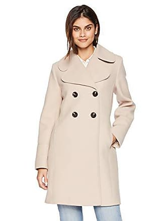Kensie Womens Thigh Length Notched Lapel Trench Wool Coat, Sand, Extra Large