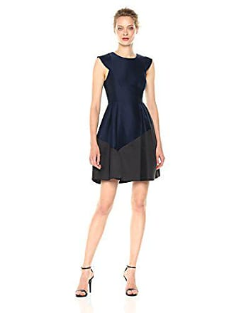 Halston Heritage Womens Cap Sleeve Round Neck Silk Faille Dress, Dark Navy/Black, 12