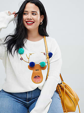 7ee90023c40 Brave Soul Plus reindeer christmas sweater with pom poms - Cream