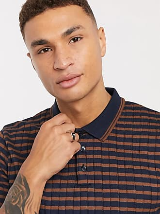 Burton Menswear striped polo in navy & brown