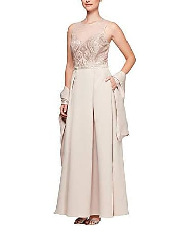 Alex Evenings Womens Embroidered Ballgown with Embellished Waist and Shawl Dress, Cameo, 12