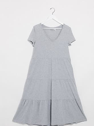 Noisy May tiered smock dress in grey