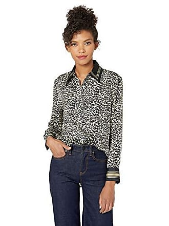 Equipment Womens Leopard Print Bradner Shirt, Natural Multi, Medium