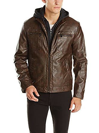 3827dbf6379 Mens Bonded Midweight Jacket with Fleece Zip Bib, Black, Medium. Delivery:  free. Kenneth Cole Reaction Mens Marble Faux Leather Moto Jacket with Hood,  ...