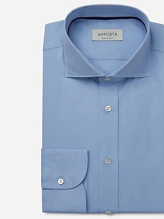 Apposta Camicia tinta unita azzurro 100% puro cotone oxford, collo stile francese punte corte