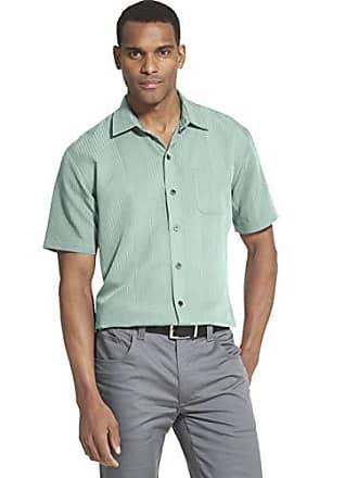 a1227c2428a1c Van Heusen Mens Big and Tall Air Short Sleeve Button Down Poly Rayon Stripe  Shirt