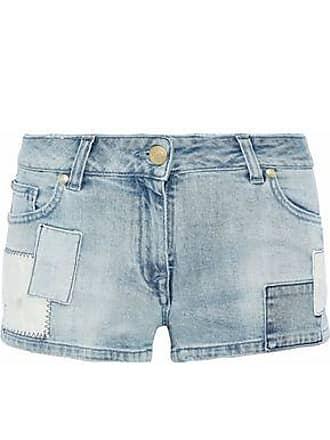 1464ca8a2759 Balmain Pierre Balmain Woman Appliquéd Patchwork Denim Shorts Mid Denim  Size 28