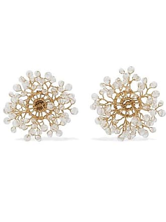 Quatorze Dewdrop Gold-plated Crystal Earrings - White