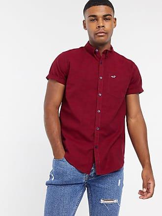 Hollister icon logo short sleeve slim fit shirt in burgundy-Red