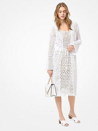 Michael Kors Crocheted Cotton Tie-Front Cardigan